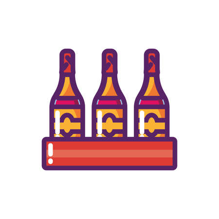 Wine bottles design of Winery alcohol drink beverage restaurant celebration and party theme Vector illustration 向量圖像
