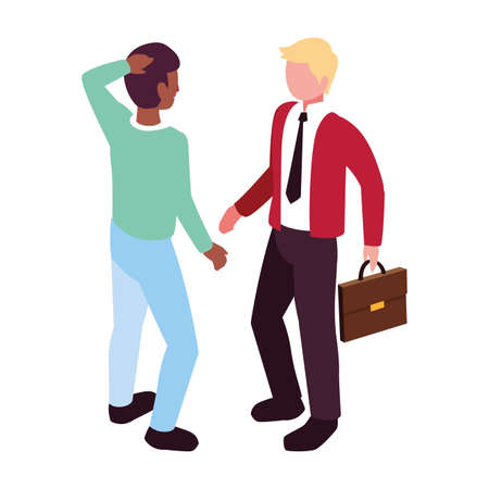 businessmen standing with various views, poses and gestures vector illustration design