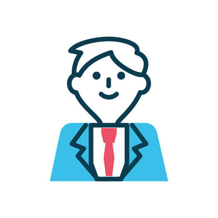 cartoon businessman icon over white background, half color style, vector illustration  イラスト・ベクター素材