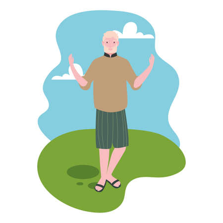 young man standing with landscape background vector illustration design 写真素材 - 143299174