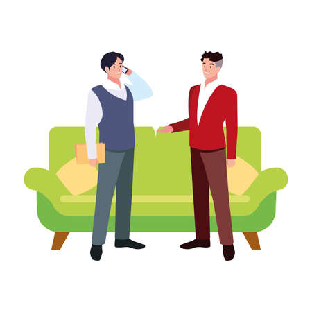 businessmen in the living room on white background vector illustration design 写真素材 - 143299173