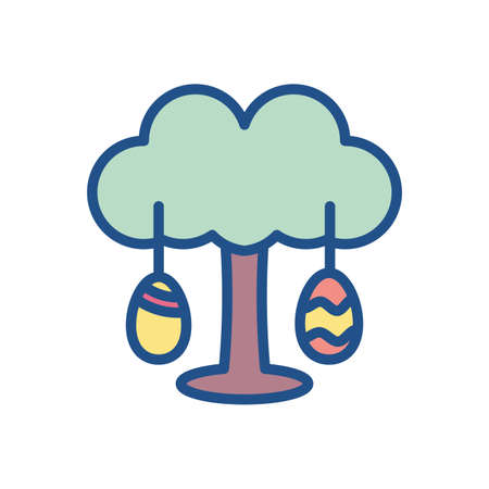 tree with easter eggs over white background, colorful and line style design, vector illustration 向量圖像