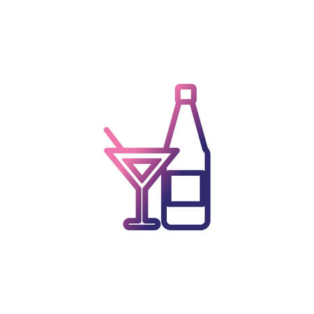 glass and bottle of sparkling champagne ,gradient style icon vector illustration design 向量圖像