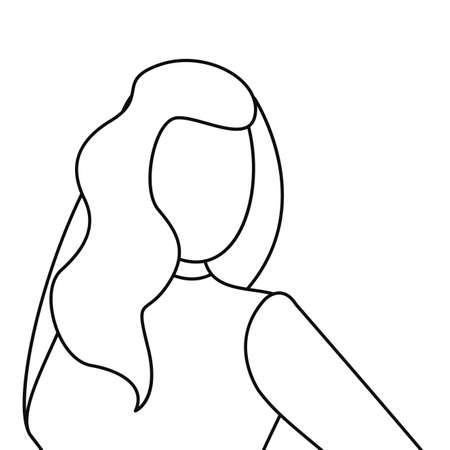 woman avatar line on white background vector illustration
