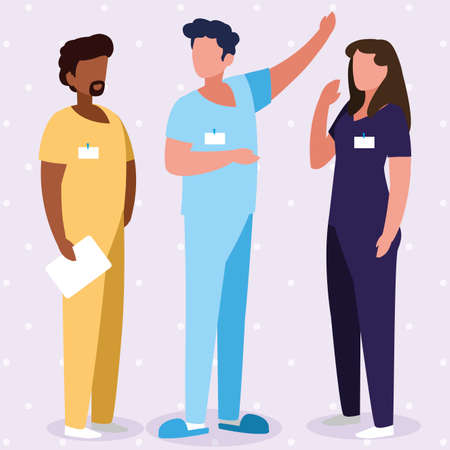 interracial group medicine workers with uniform characters vector illustration design 矢量图像