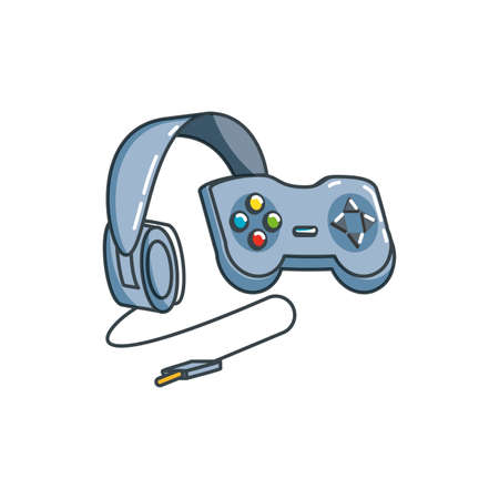 headphone device with control game vector illustration design