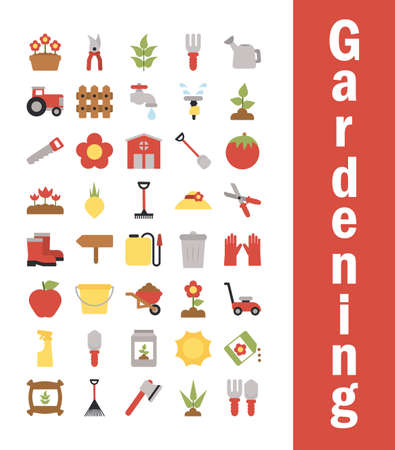 set of icon gardening on white background vector illustration design