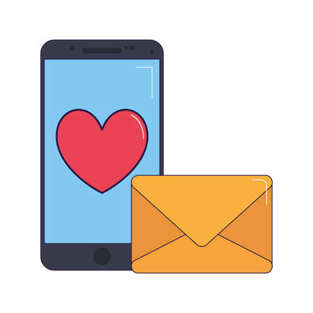 envelope and smartphone with heart icon over white background, vector illustration