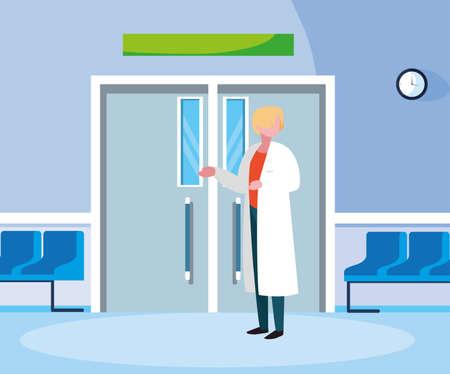 female medicine worker in the operating room entrance vector illustration design