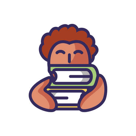 cartoon boy with books stack over white background, colorful line and fill style, vector illustration Illustration