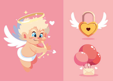 set of icon valentines day vector illustration design