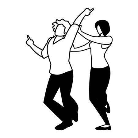 silhouette of couple in pose of dancing on white background vector illustration design 版權商用圖片 - 143526443