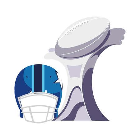 american football award with helmet on white background vector illustration design