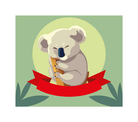 greeting card with australian Koala on a tree vector illustration design Illustration