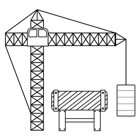 construction crane tower with signaling vector illustration design