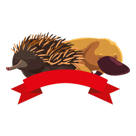 platypus and echidna on white background vector illustration design Vektorové ilustrace