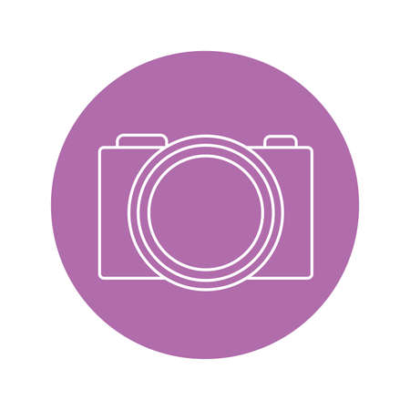 camera icon over purple circle and white background, vector illustration Banque d'images - 143360925