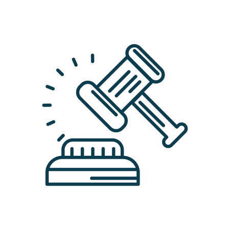 Hammer of justice law icon over white background, line style, vector illustration