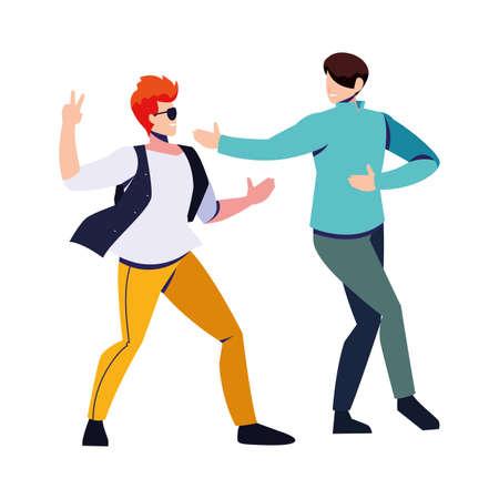 scene of men in dance pose, party, dance club vector illustration design 版權商用圖片 - 143526990