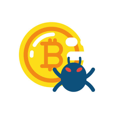 Bitcoin and bug design of Cryptocurrency money currency exchange financial bank web internet market electronic finance and net theme Vector illustration  イラスト・ベクター素材