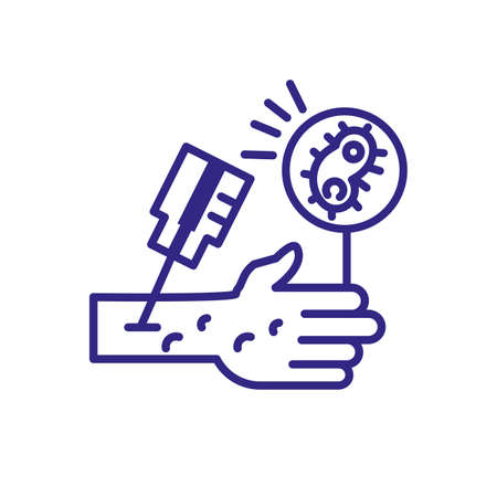 vaccine injection in hand icon over white background, line detail style, vector illustration