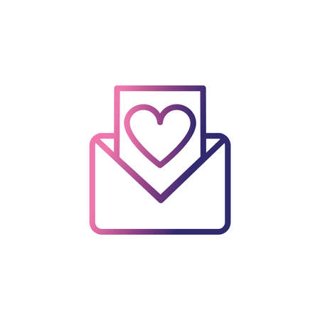 envelope open with message,gradient style icon vector illustration design