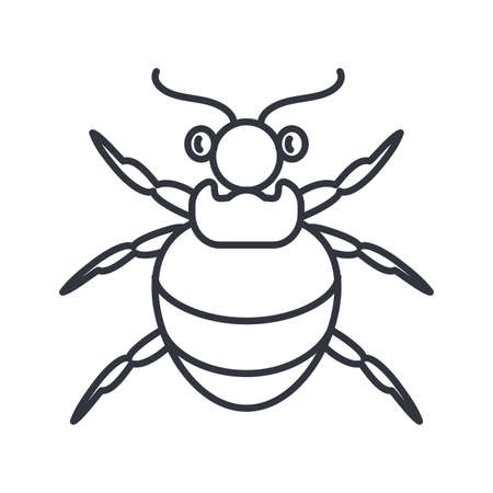 flea insect icon over white background, line detail style, vector illustration