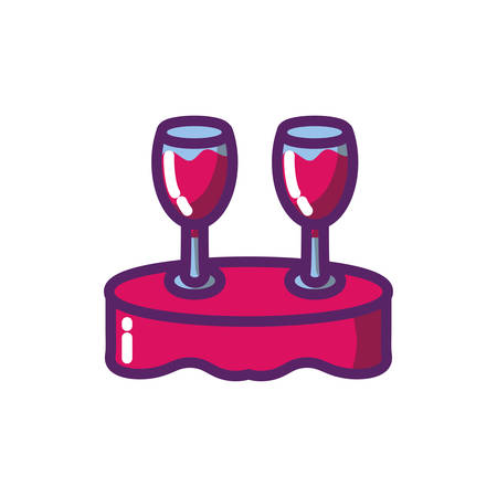 Wine cups over table design of Winery alcohol drink beverage restaurant celebration and party theme Vector illustration Ilustração