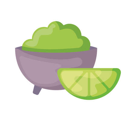 bowl of guacamole with lemon slice isolated icon vector illustration design