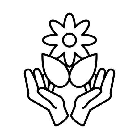 hands holding an flower with leaf on white background vector illustration design Ilustracja