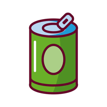 soda can icon over white background, fill style icon, vector illustration