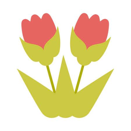 flower with leaf on white background vector illustration design