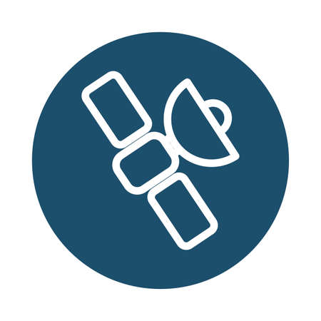 satellite in orbit, block and flat style icon vector illustration design