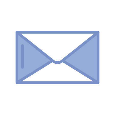 envelope icon over white background, blue outline style, vector illustration Ilustracja