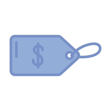price tag icon over white background, blue outline style, vector illustration