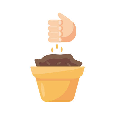 pot and hand throwing seeds over white background, flat detail style, vector illustration
