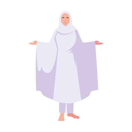 woman pilgrim hajj standing on white background