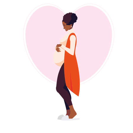 beautiful afro pregnancy woman in heart character vector illustration design 矢量图像