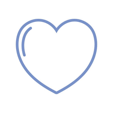 heart icon over white background, blue outline style, vector illustration