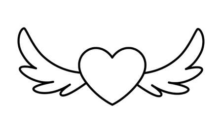 hearts with wings on white background vector illustration design