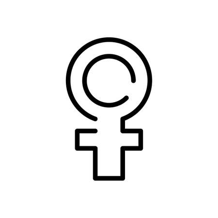female gender symbol over white background, line style icon, vector illustration