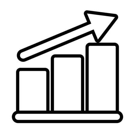 bar graph , line style icon vector illustration design