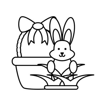 cute rabbit with basket on white background vector illustration design
