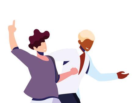 scene of men in dance pose, party, dance club vector illustration design 版權商用圖片 - 143555765