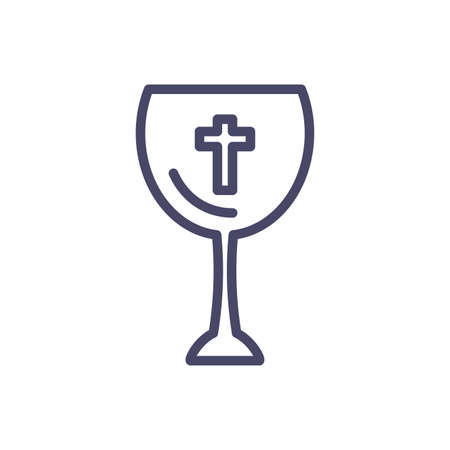 catholic wine glass over white background, line style icon, vector illustration