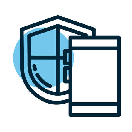 shield with database, line style icon vector illustration design