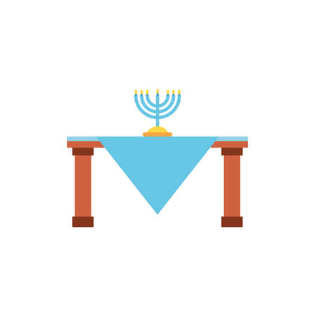 Jewish menorah over table design, Hanukkah holiday celebration judaism religion festival traditional and culture theme Vector illustration