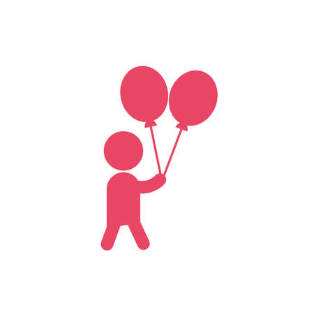 Avatar boy and balloons design, Kid childhood little people lifestyle casual person cheerful and cute theme Vector illustration 向量圖像