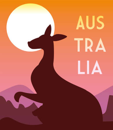 card with kangaroo and australia label vector illustration design