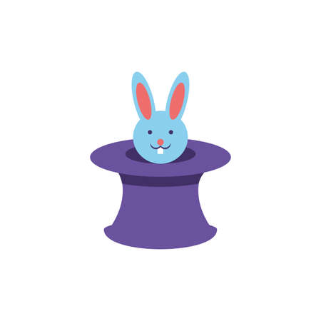 wizard hat with cute rabbit on white background vector illustration design Ilustração